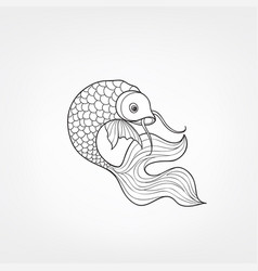 Fish isolated hand drawn doodle line decorative vector