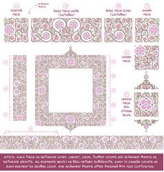 Flower decorative ornaments building kit - lilac vector