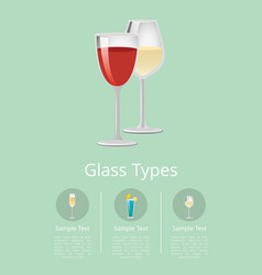 glass types advertising poster with glassware icon vector image