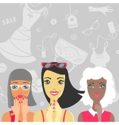 Group of girls are surprised at the sale vector image vector image