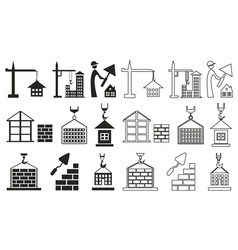 icons construction of houses on white vector image