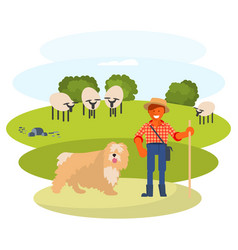 Man cattleman with shepherd dog vector