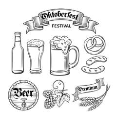 set beer oktoberfest vector image vector image