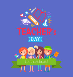 teachers day placard vector image vector image