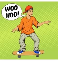 Teenager on a skateboard pop art vector