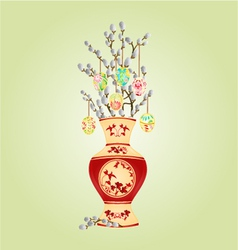 Vase with branch pussy willow and easter eggs vector