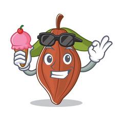 With ice cream cacao bean character cartoon vector