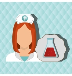 Nurse woman tube lab chemistry vector