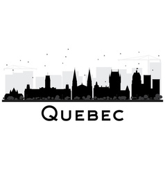 Quebec city skyline black and white silhouette vector
