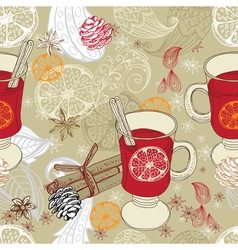 Seamless doodle background with mulled warm wine vector