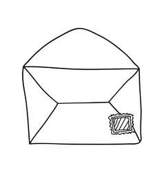Hand drawing of contour envelope mail open vector