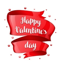 Happy Valentine day greeting card with Red shiny vector image