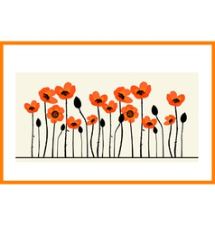 Background painting with red poppies vector