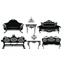 Classic Baroque furniture set vector image