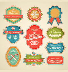 cute christmas labels vector image
