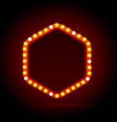 Light bulbs vintage neon glow billboard frame vector