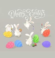 Easter bunnies collection vector