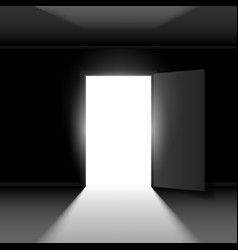 Exit door with light on dark empty background vector