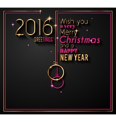 2016 Christmas and Happy New Year Party flyer vector image