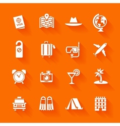Set of white travel icons vector