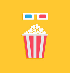 3d paper red blue glasses and big popcorn box vector