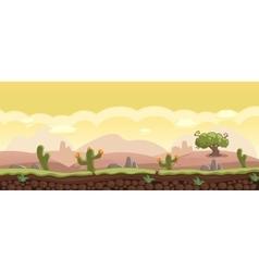 Horizontal Cartoon Background with Desert vector image