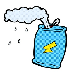 Comic cartoon fizzing soda can vector
