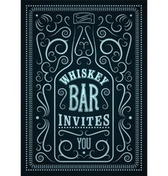 Typographic retro design whiskey bar poster vector