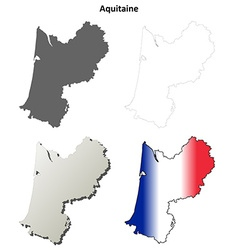 Aquitaine blank detailed outline map set vector