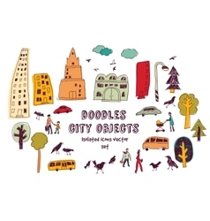 Doodles urban city life isolate objects color set vector