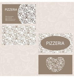 Hand drawn business card template for pizzeria vector