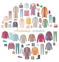 Autumn-winter clothes collection vector