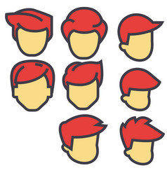 avatars male users red hairs concept line vector image