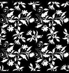 black and white seamless floral pattern vector image vector image