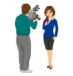 Cameraman recording female journalist vector