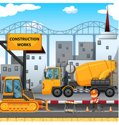 Construction works along the street vector