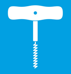 Corkscrew with a metal spiral icon white vector
