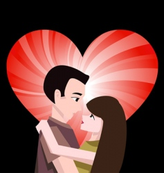 couple with heart vector image vector image