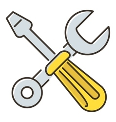 Crossed screwdriver and wrench icon flat style vector image