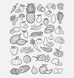 Fruits and vegetables icons sketch vector