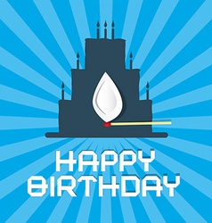 Happy birthday blue background with cake vector