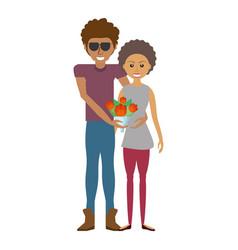 Happy couple romantic bouquet flower vector