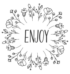 Herbal frame Enjoy Organic herbs and wild flowers vector image vector image