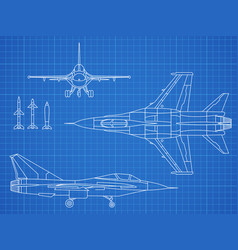 military jet aircraft drawing blueprint vector image vector image