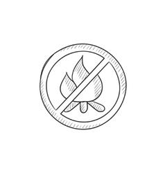 No fire sign sketch icon vector image