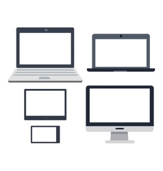 Pc devices set collection of realistic monitors vector