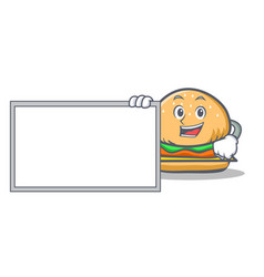 Pose with board burger character fast food vector