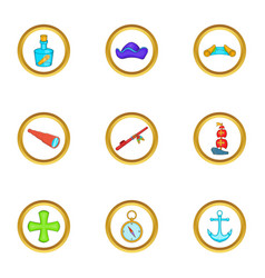 Sea travel icons set cartoon style vector
