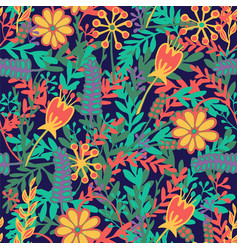 Seamless pattern with hand drawn blooming flowers vector