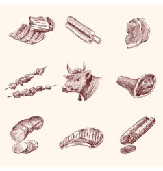 Sketch meat icons vector image vector image